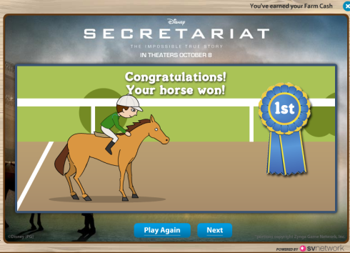 FarmVille Secretariat: Your horse won!