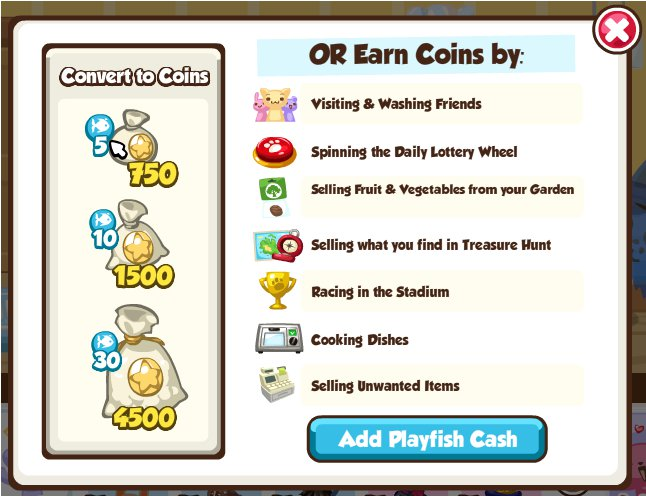 Convert Playfish Cash to Coins