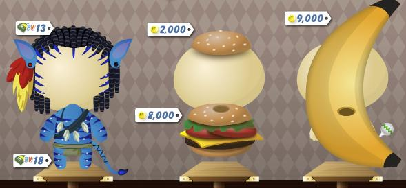 Avatar, Burger and Banana Costumes