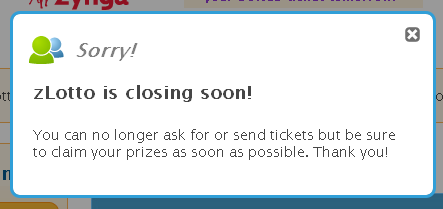 Zynga Lotto is closing soon!