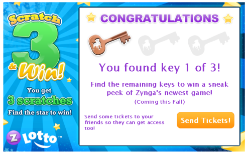 Zynga Lotto Grand Prize Find 3 Keys