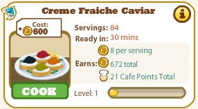 cafe world creme fraiche caviar