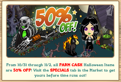 FarmVille Halloween 50% discount sale