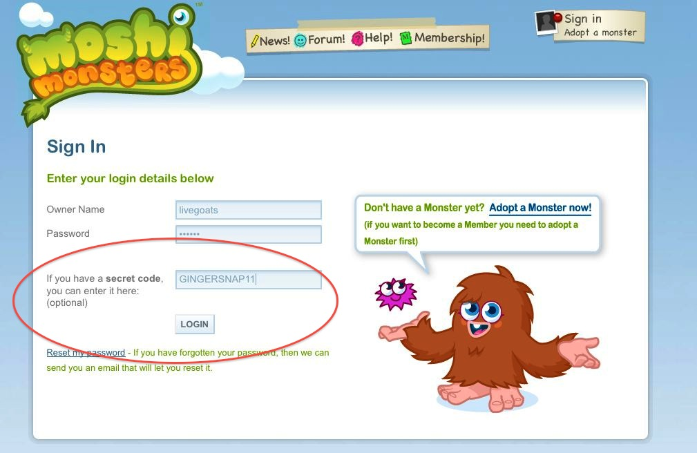moshi monsters sign-in page