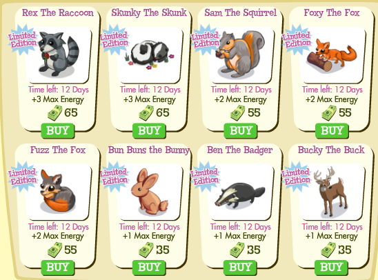 Treasure Isle fall animals