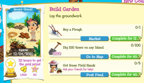 Treasure Isle Build Garden Bonus Quest