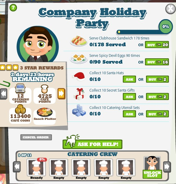 cafe world company holiday party catering job everything you need