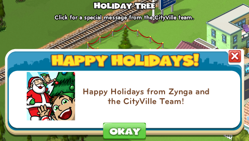 CityVille Holiday Tree Special Message from Zynga