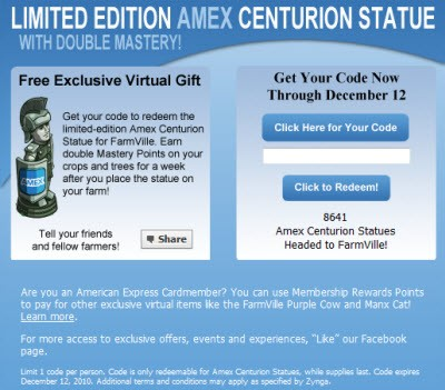 FarmVille Limited Edition Double Mastery with Amex Centurion Statue