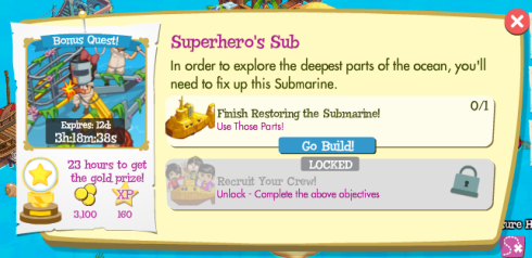 Treasure Isle Bonus Quest: Superhero's sub