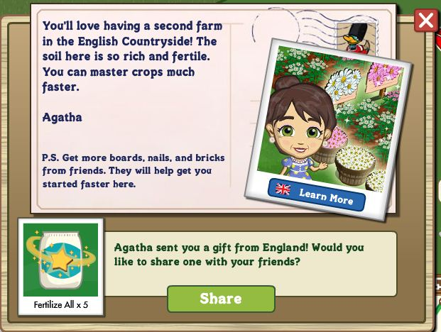 FarmVille English Countryside letter from Agatha