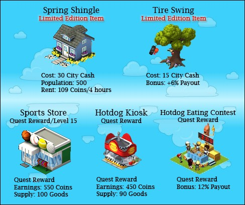 CityVille Spring items