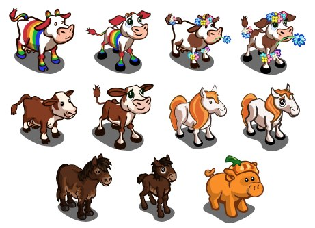Farmville Animal Sneak Peek Rainbow Cow Flowery Cow