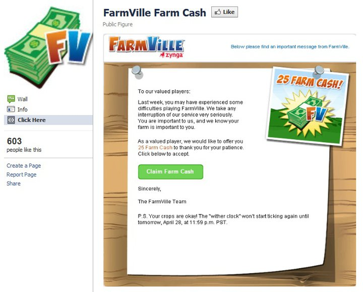FarmVille Farm Cash Letter scam