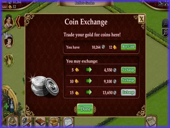 Playdom Gardens of Time Coin Exchange