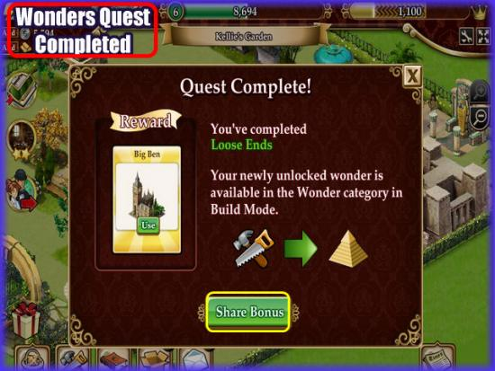 Playdom Gardens of Time Wonders Quest Complete