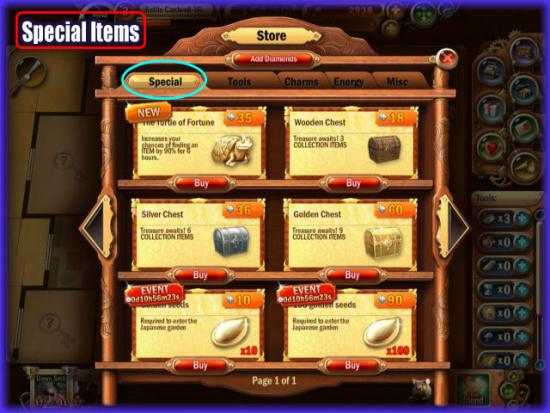 Mystery Manor store Special Items