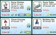 farmville second birthday items