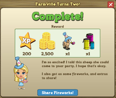 FarmVille turns two rewards