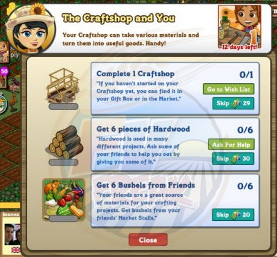 FarmVille Craftshop Goal 1