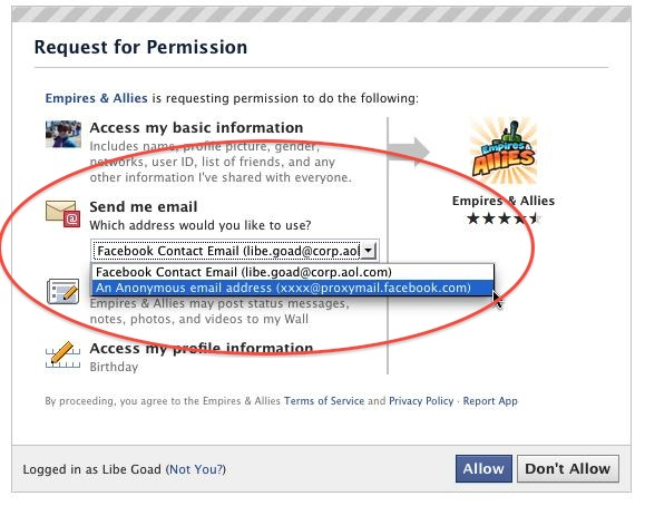 facebook email temporary address