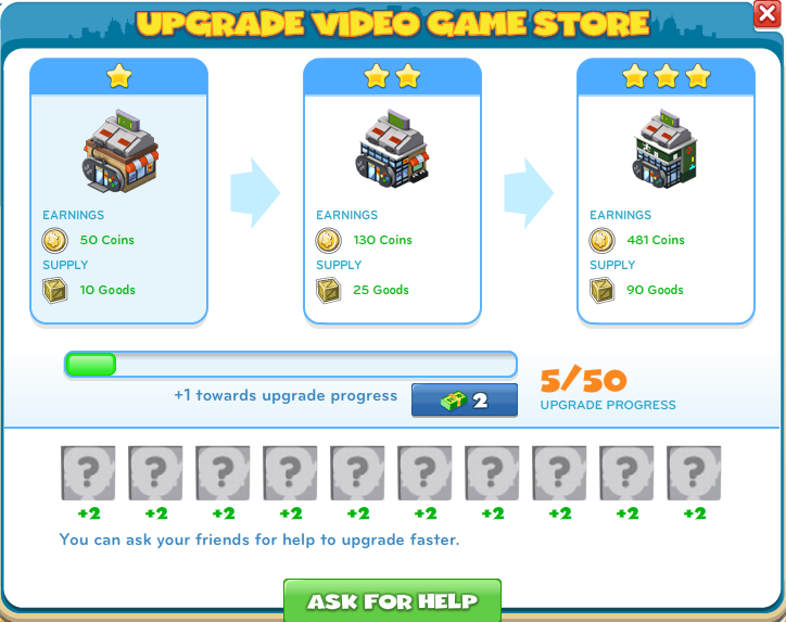 CityVille Video Game Store upgrade menu