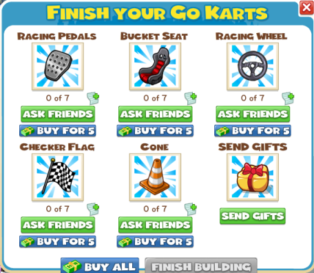 CityVille Go Karts build menu