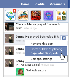 Facebook games ticker