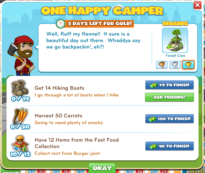 CityVille One Happy Camper Goal menu