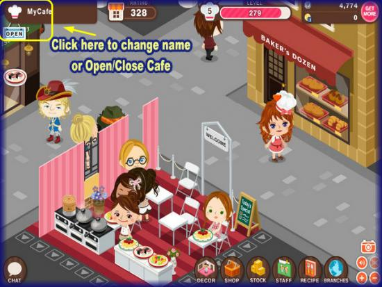World Chef how to change cafe name or open and close cafe