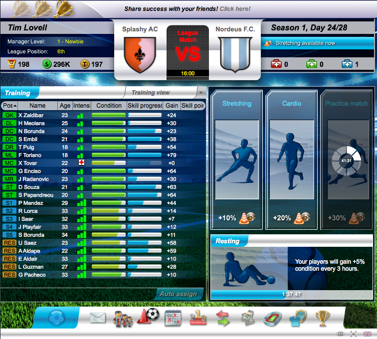 Top Eleven training