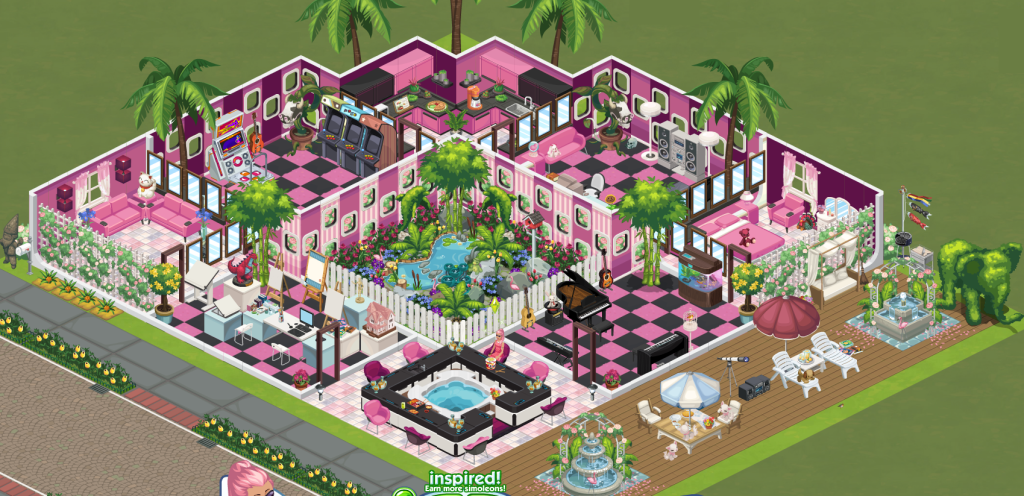 The Sims Social huge pink home