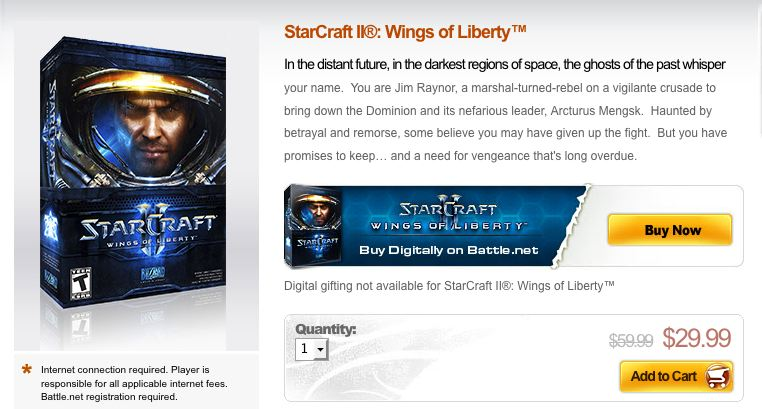 blizzard starcraft II sale