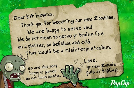 PopCap Zombies letter to EA