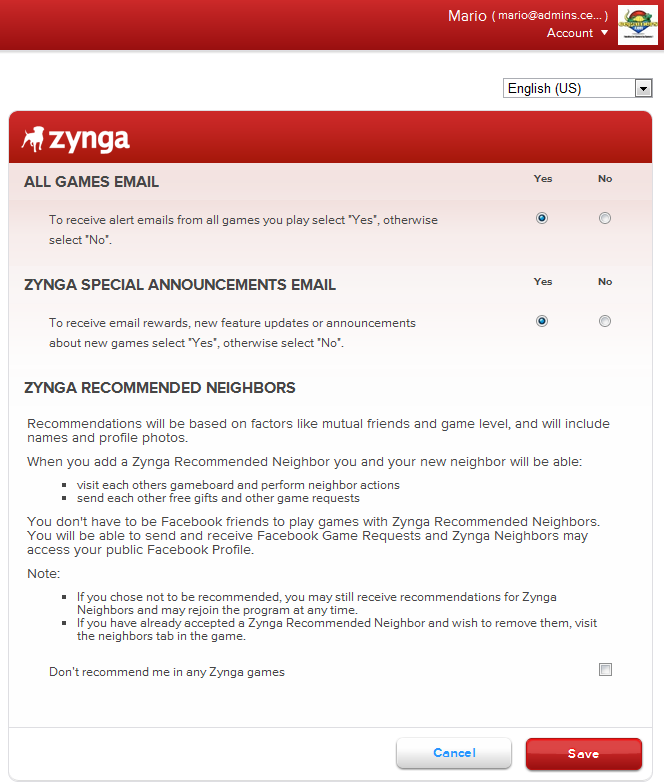 Zynga Recommened Friends