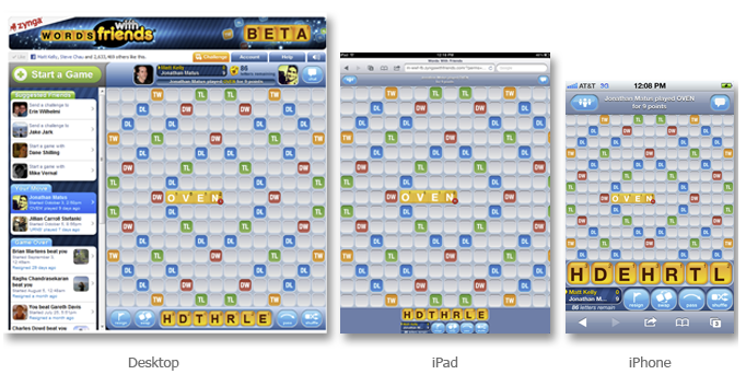 Words With Friends Facebook, iPad and iPhone
