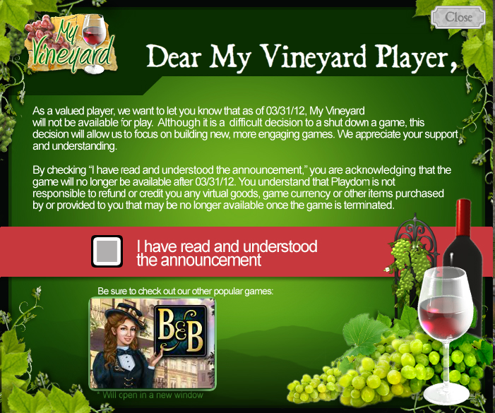 My Vineyard closes