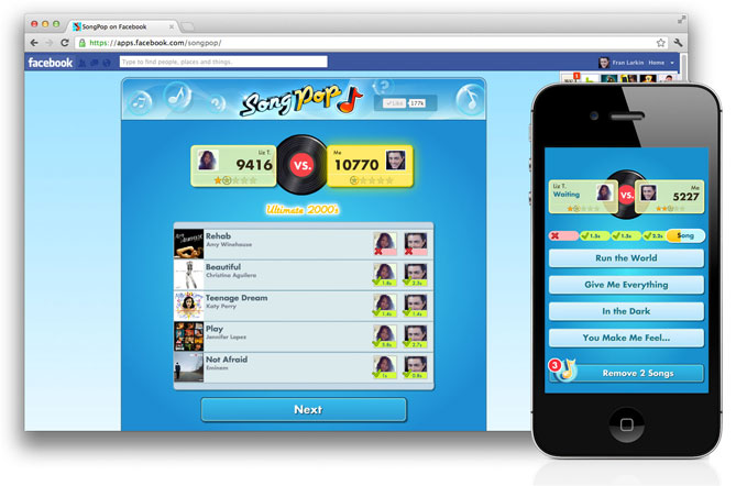 SongPop Facebook iPhone Android