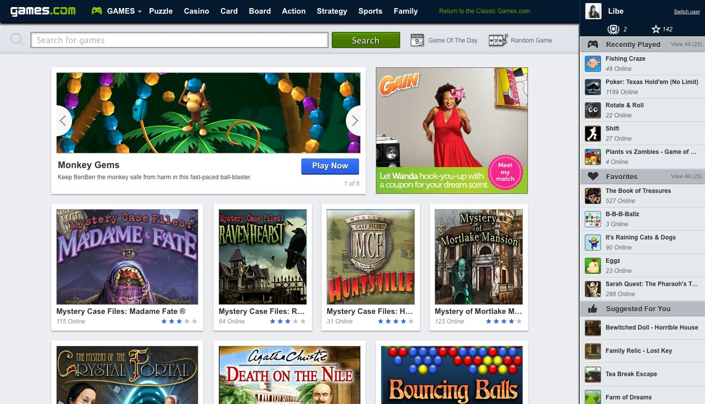 games.com new homepage