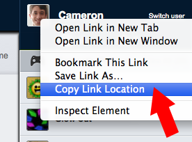Copy link location of your username