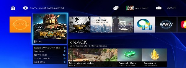 PS4 interface