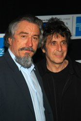 Actors Robert Deniro (L) and Al Pacino arrive at the Tribeca Film Festival screening of 'An Evening of Chinese Coffee and Conversation' May 8, 2003 in New York City. (Photo by Lawrence Lucier/Getty Images)