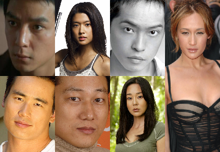 Clockwise from upper left: Daniel Wu, Grace Park, Ken Leung, Maggie Q, Yunjin Kim, Sung Kang, Roger Fan
