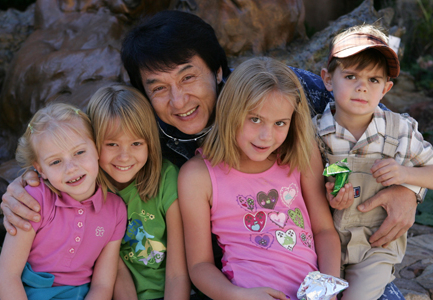 Jackie Chan with new friends in Santa Fe, New Mexico, prior to filming 'The Spy Next Door'