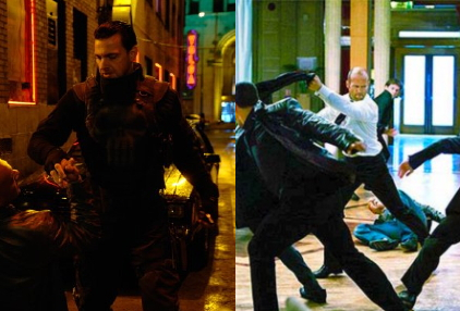 Ray Stevenson in 'Punisher: War Zone' (left) and Jason Statham in 'Transporter 3'