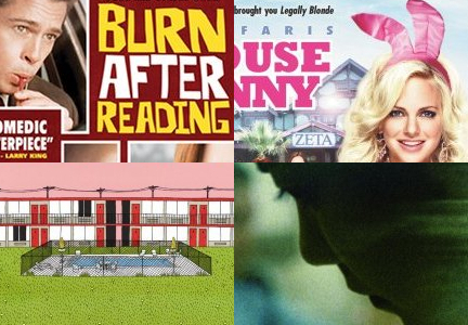 Clockwise, from upper left: 'Burn After Reading,' 'The House Bunny,' 'Chungking Express,' 'Bottle Rocket'