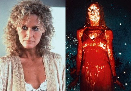 Glenn Close in 'Fatal Attraction'; Sissy Spacek in 'Carrie'