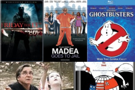 Clockwise from upper left: 'Friday the 13th,' 'Madea Goes to Jail,' 'Ghostbusters,' 'Dr. Strangelove,' 'Cherry Blossoms'