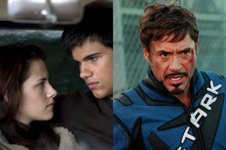 Kristen Stewart and Taylor in 'The Twilight Sage: New Moon,' Robert Downey Jr. in 'Iron Man 2'