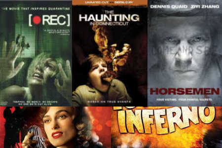 Clockwise from upper left: '[REC],' 'The Haunting in Connecticut,' 'Horsemen,' 'The Towering Inferno,' 'The Edge of Love'